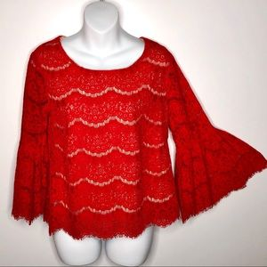 Rose & Olive Boho Red Lace Top 3/4 Bell Sleeve